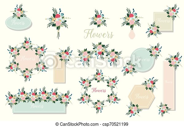 botanique, branch., joker, leaves., invite., mariage, floral, ensemble, fleurs, rose, vert, flowers., affiche, rose, concept - csp70521199