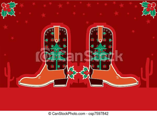 Tarjeta de Navidad con botas y decoración navideña - csp7597842