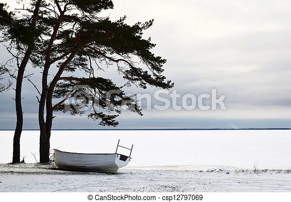 bote, inverno, descanso - csp12797069
