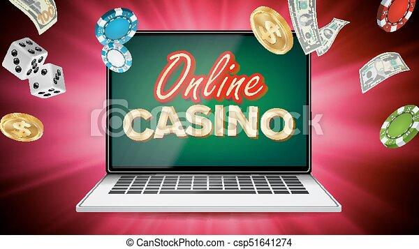 Vector de casino en línea. Banner con portátil. El cartel del casino de póker. Publicidad de premios, ilustración de conceptos promocionales. - csp51641274