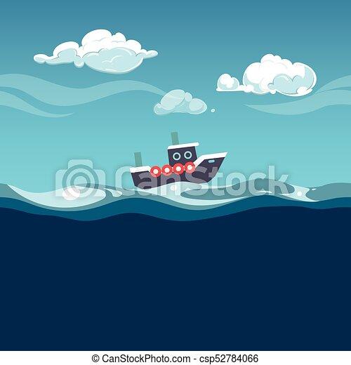 bote, vapor, illustration., mar, ondas - csp52784066