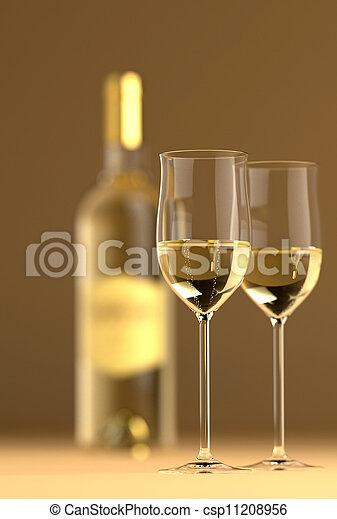 botella de vidrio, vino - csp11208956