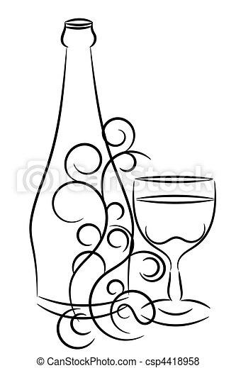 Botella de vino y vidrio - csp4418958