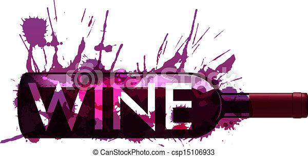 Una botella de vino hecha de salpicaduras coloridas - csp15106933