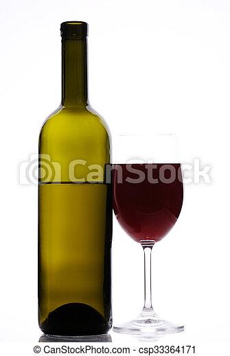 botella roja, vino - csp33364171