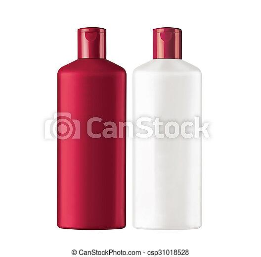 Champú de botellas de plástico aislado en fondo blanco - csp31018528