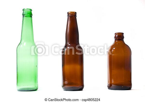 botellas, emplty, aislado, tres, cerveza, backround. - csp4805224