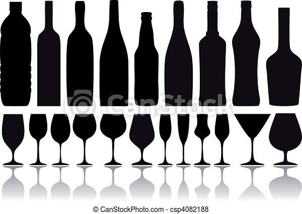 botellas, vector, anteojos, vino - csp4082188