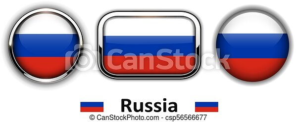Botones de bandera de Rusia - csp56566677