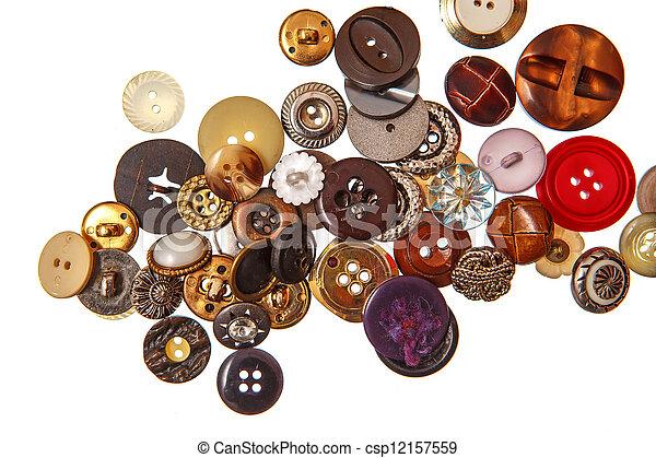 Cosiendo botones en blanco - csp12157559