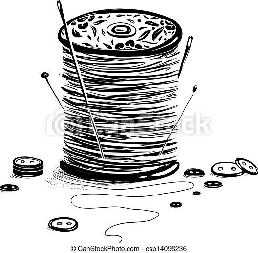 Lleno de hilo con agujas y botones - csp14098236