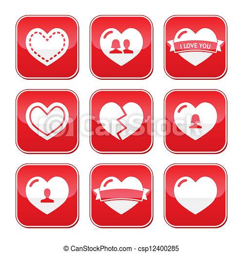 Los botones de amor ponen Valentines - csp12400285