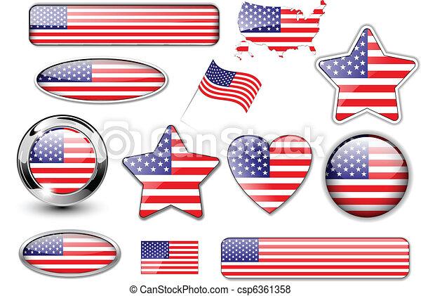 Botones Norteamericano Norte Bandera Estados Unidos De América