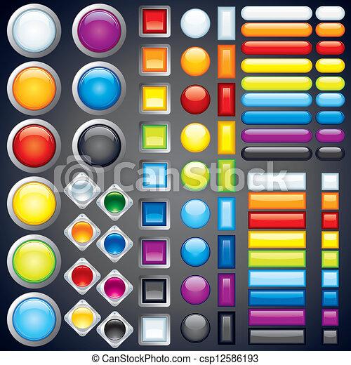 botones, tela, imagen, iconos, colección, vector, barras. - csp12586193