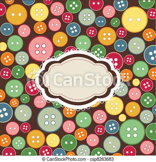 Un marco antiguo, botones de costura - csp8263683