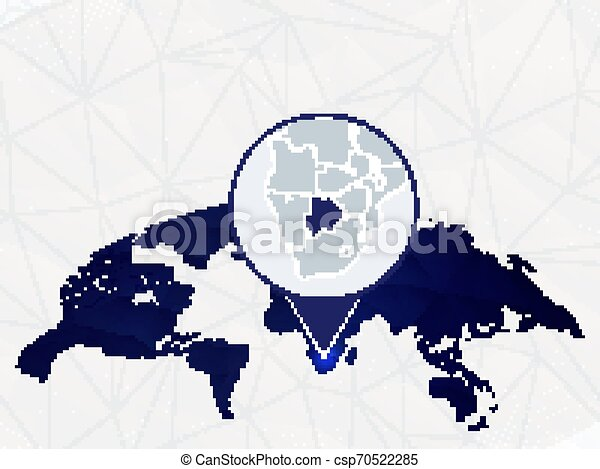 Botswana detailed map highlighted on blue rounded World Map. - csp70522285