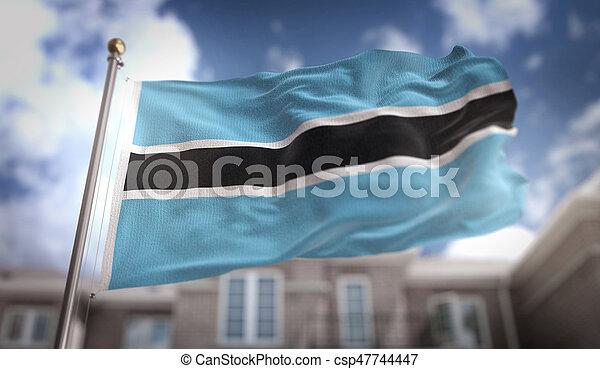 Botswana Flag 3D Rendering on Blue Sky Building Background - csp47744447