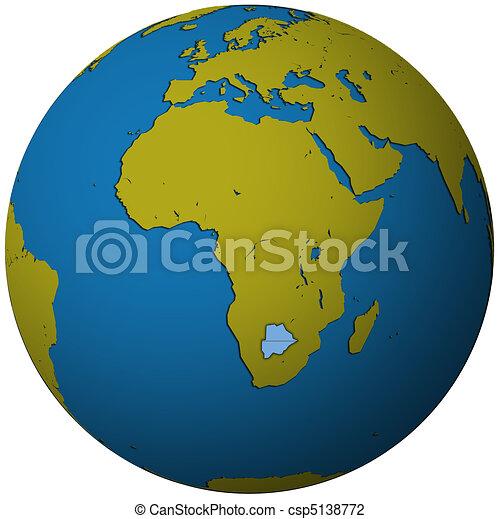 botswana flag on globe map - csp5138772