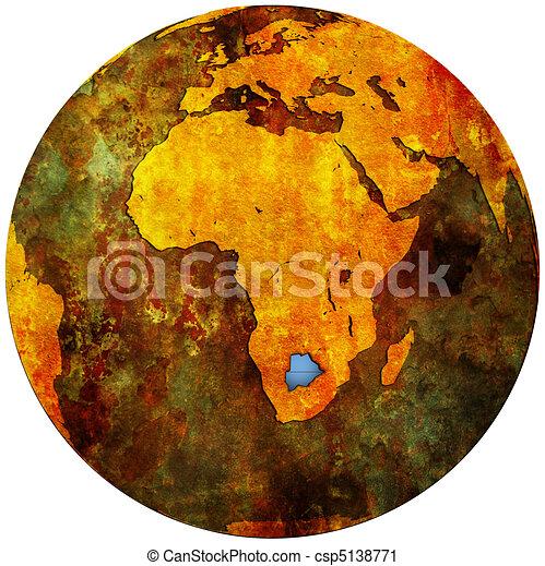 botswana flag on globe map - csp5138771