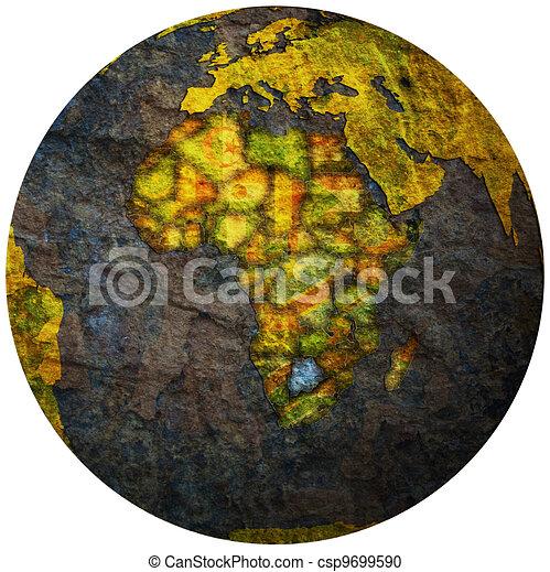 botswana flag on globe map - csp9699590