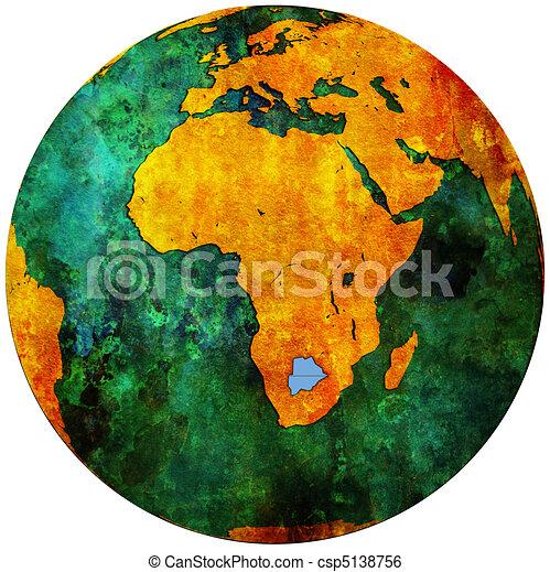 botswana flag on globe map - csp5138756