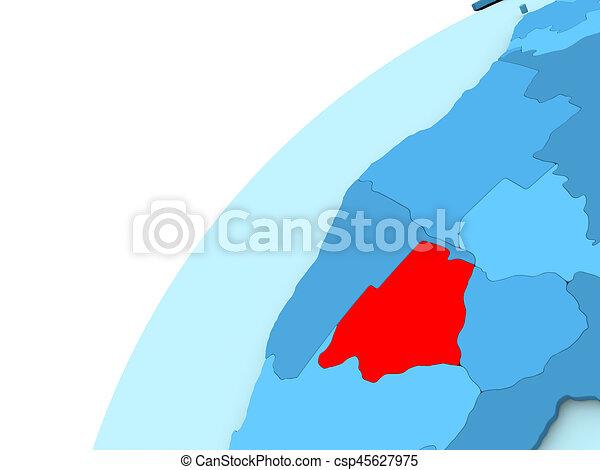 Botswana in red on blue globe - csp45627975