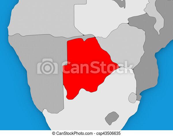 Botswana in red on globe - csp43506635