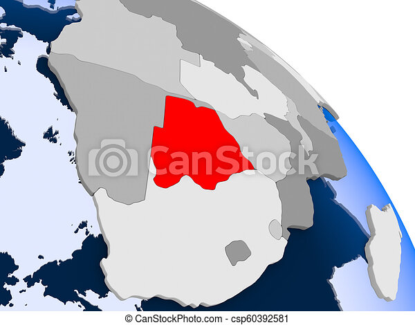 Botswana in red on map - csp60392581