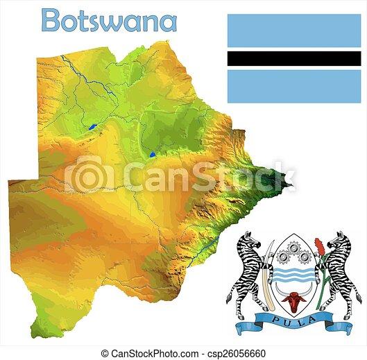Botswana map flag coat Botswana map aerial view clip art vector