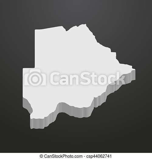Botswana map in gray on a black background 3d - csp44062741
