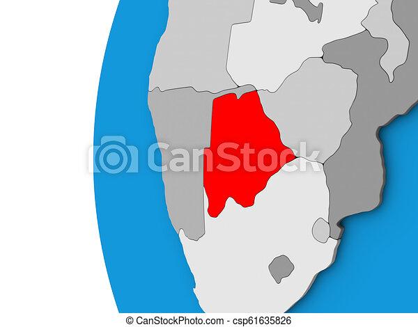 Botswana on 3D globe - csp61635826