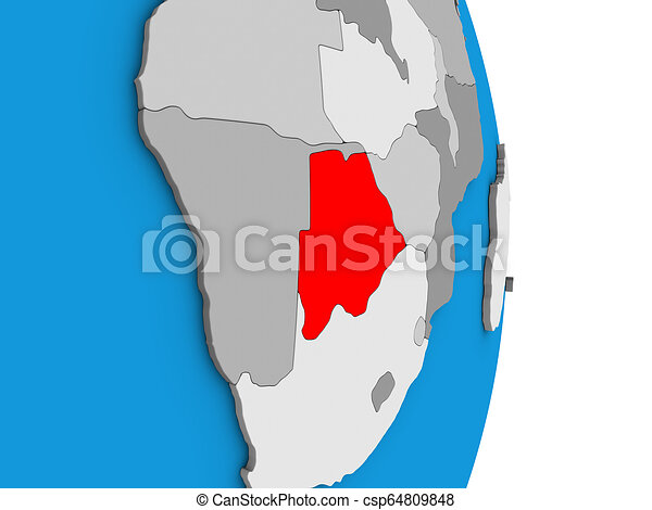 Botswana on 3D globe - csp64809848