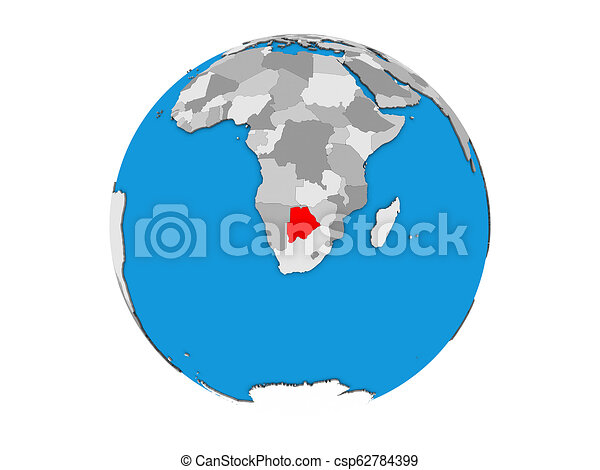 Botswana on 3D globe isolated - csp62784399