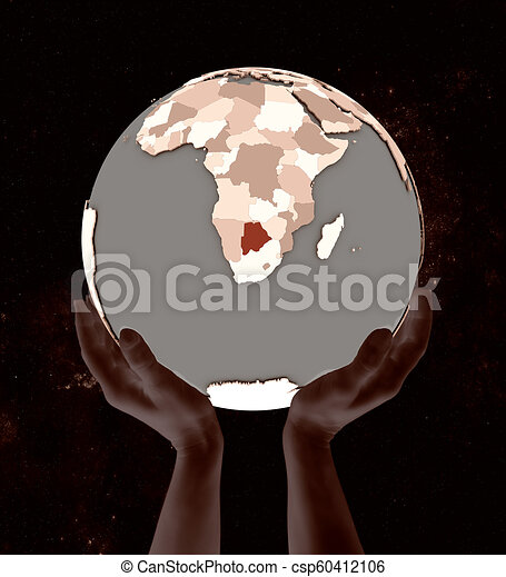 Botswana on globe in hands - csp60412106