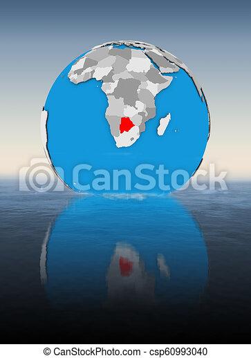 Botswana on globe in water - csp60993040