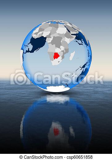Botswana on globe in water - csp60651858
