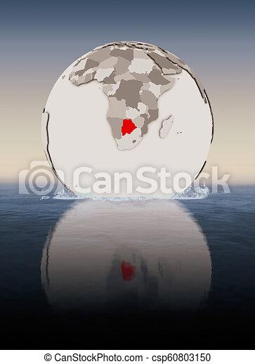 Botswana on globe in water - csp60803150