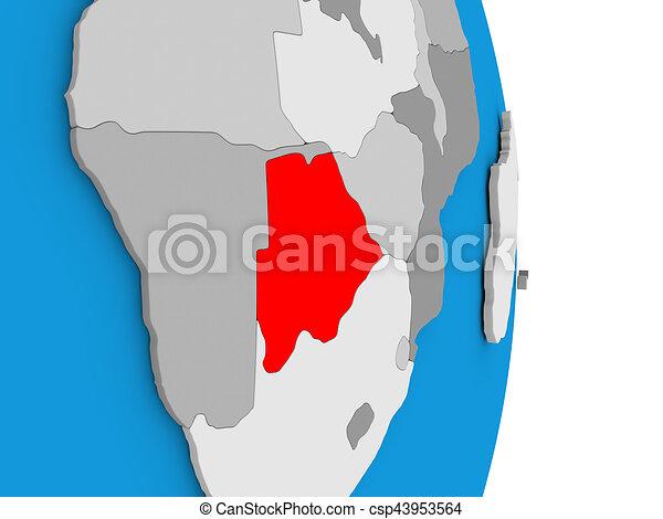 Botswana on globe - csp43953564
