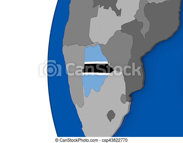 Botswana on globe - csp43822770