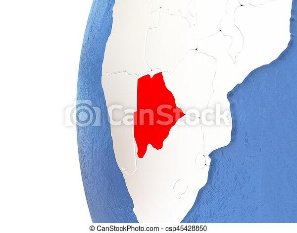 Botswana on globe - csp45428850