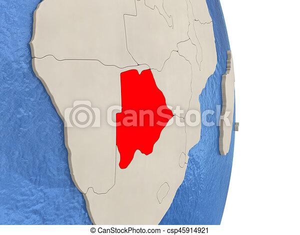 Botswana on model of political globe - csp45914921