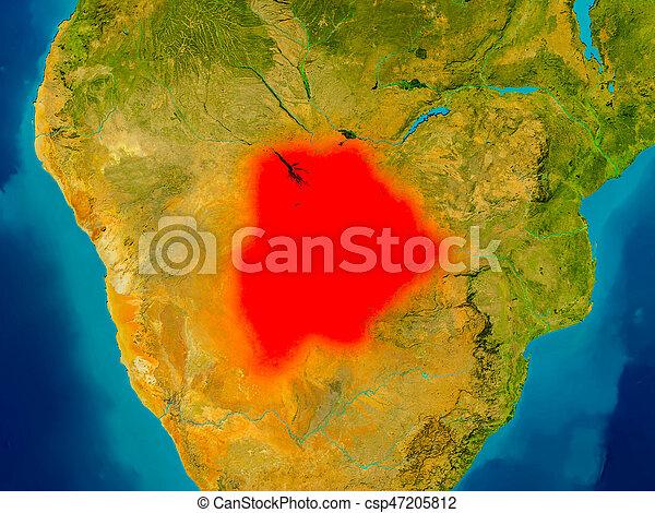 Botswana on physical map - csp47205812