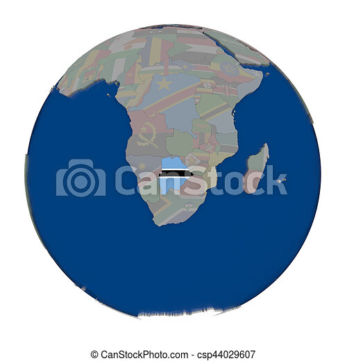 Botswana on political globe - csp44029607