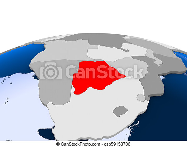 Botswana on political globe - csp59153706