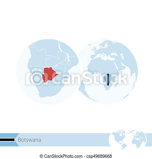 Botswana on world globe with flag and regional map of Botswana. - csp49689668