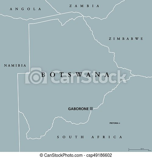 Botswana political map with capital gaborone and vector clipart