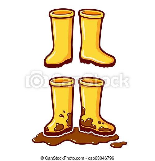 bottes, jaune, dessin animé, pluie