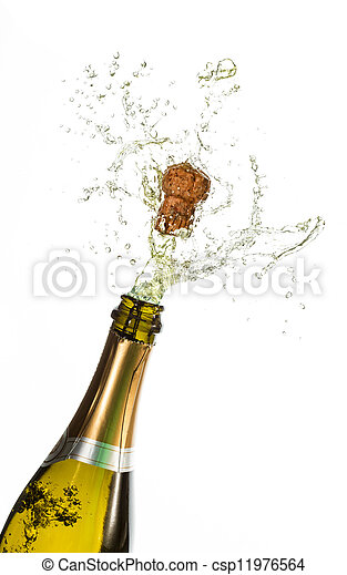 bottiglia champagne, schioccare - csp11976564