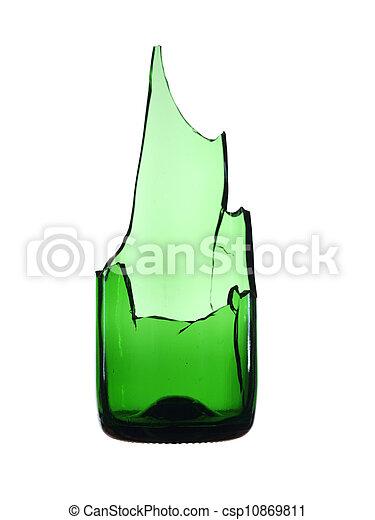 Bottiglia Isolato Rotto Sfondo Verde Bianco