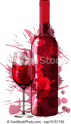 Bottle and glass of wine made of colorful splashes - csp15151743